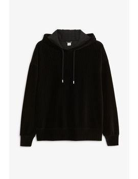 Soft Ribbed Velour Hoodie by Monki