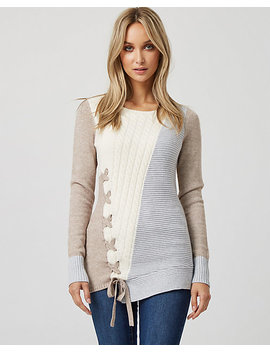 Cable Knit Asymmetric Sweater by Le Chateau