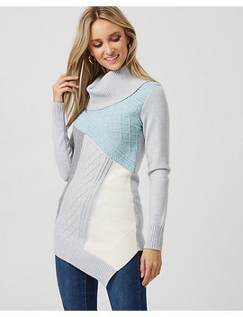 Colour Block Knit Cowl Neck Sweater by Le Chateau