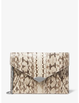Barbara Snakeskin Envelope Clutch by Michael Michael Kors