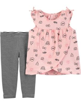 2 Piece Doodle Cross Front Tank & Striped Capri Legging Set by Carter's