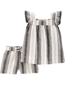2 Piece Striped Flutter Top & Linen Short Set by Carter's