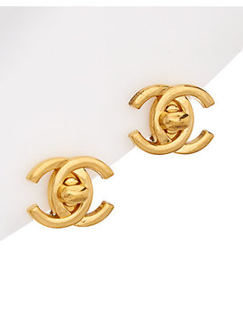 Chanel Gold Tone Large Cc Turnlock Earrings by Chanel