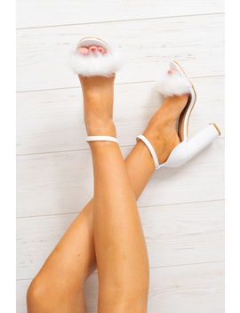 White Pu Fluffy Block Heels   Alecia by Rebellious Fashion
