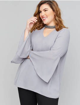 Embellished Choker Neck Top by Lane Bryant