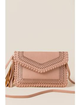 Kamryn Perforated Envelope Clutch In Mauve by Francesca's