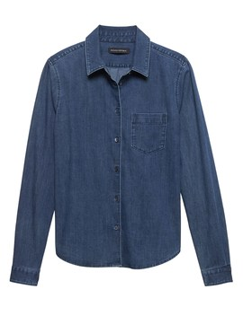 Petite Quinn Fit Stretch Denim Shirt by Banana Repbulic