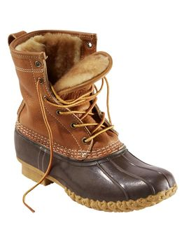 "Women's Bean Boots By L.L.Bean®, 8"" Tumbled Leather Shearling Lined by L.L.Bean"