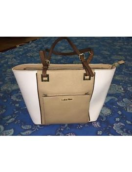 Dual Toned In Ivory And Nude Calvin Klein Tote Purse Bag by Calvin Klein