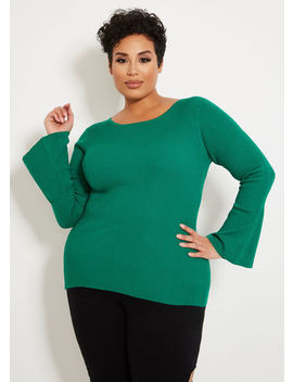 Solid Bell Sleeve Sweater by Ashley Stewart
