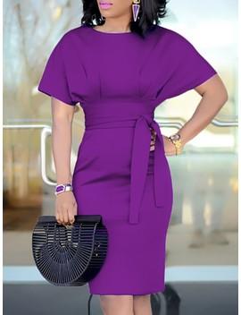 Patchwork Waist Belted Mid Calf Slip Dress by Ivrose