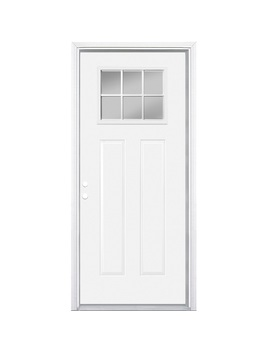 Masonite Craftsman Clear Glass Right Hand Inswing Primed Steel Prehung Entry Door With Insulating Core (Common: 36 In X 80 In; Actual: 37.5 In X 81.625 In) by Lowe's