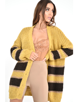 Mustard Brown Colour Block Chunky Knit Cardigan   Brionna by Rebellious Fashion