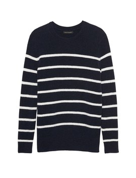 Petite Aire Stripe Crew Neck Sweater by Banana Repbulic