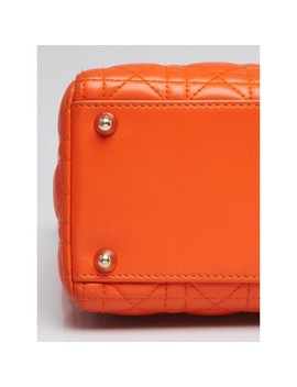 Orange Quilted Cannage Lambskin Leather Large Lady Dior Bag by Christian Dior