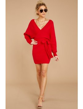Think About It Red Sweater Dress by Petal Roz