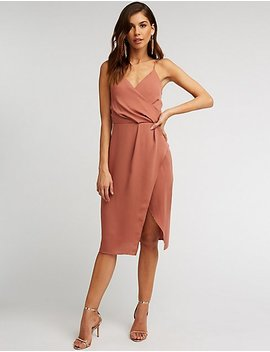 Surplice Wrap Midi Dress by Charlotte Russe