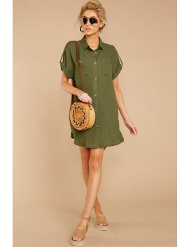 So Called Life Forest Green Shirt Dress by Mustard Seed