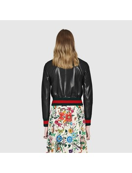 Ruffle Leather Bomber Jacket by Gucci