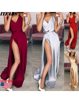 Sexy Women Silk Evening Party Ball Prom Gown Formal Cocktail Wedding Long Dress by Itfabs
