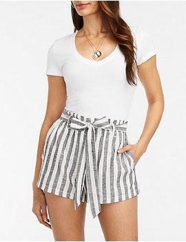 Striped Tie Front Linen Shorts by Charlotte Russe