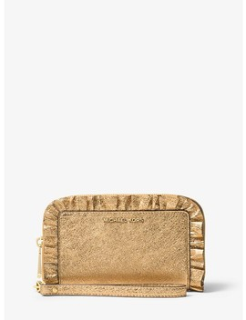 Ruffled Metallic Leather Smartphone Wristlet by Michael Michael Kors