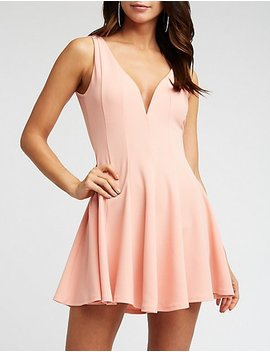 Wired V Neck Skater Dress by Charlotte Russe