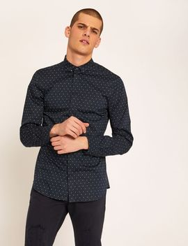 Slim Fit Logo Microdot Stretch Shirt by Armani Exchange