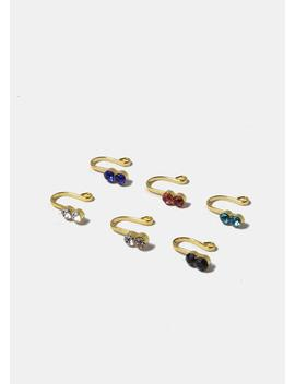 Two Colored Rhinestone Stud Faux Nose Ring by Miss A