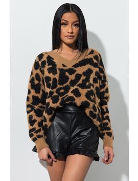 No Doubt Fuzzy Leopard Print Sweater by Akira