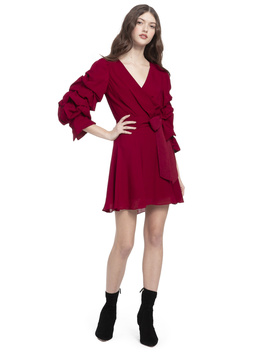 Santina Ruffle Sleeve Mini Dress by Alice And Olivia