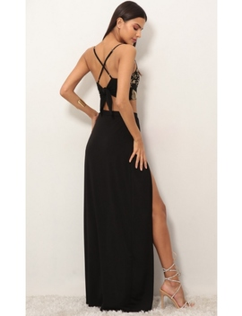 Rome Gold Lace Maxi Set In Black by Lucy In The Sky
