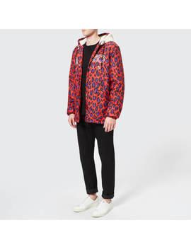 Kenzo Men's Leopard Raincoat   Red by Kenzo