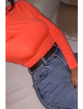 Neon Orange Slinky Bodysuit   Allison by Rebellious Fashion