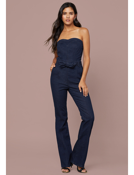 Denim Sweetheart Jumpsuit by Bebe