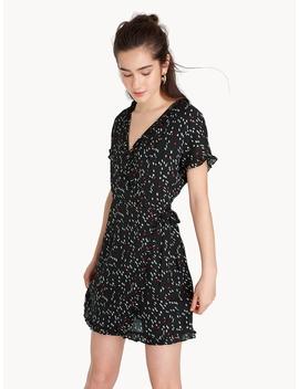 Mini Ruffled Trim Wrap Dress   Black by Pomelo