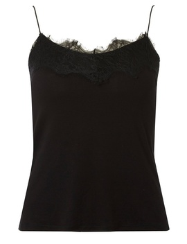 Black Lace Trim Cami Top by Dorothy Perkins