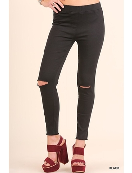 High Waist Knee Cut Jeggings by Andy Liz Boutique, Los Angeles