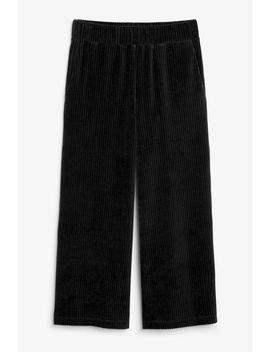 Cropped Ribbed Velour Trousers by Monki