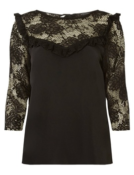 Black Lace Mix Tie Back Top by Dorothy Perkins