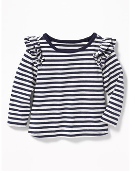 Striped Ruffled Shoulder Top For Baby by Old Navy