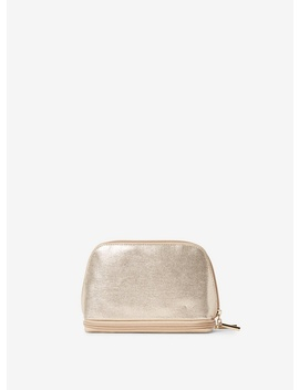 Gold Curved Zip Makeup Bag by Dorothy Perkins