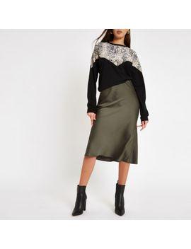 Khaki Satin Midi Skirt by River Island