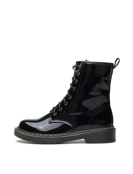 Black Patent Leather Lace Up Design Short Boots by Yoins