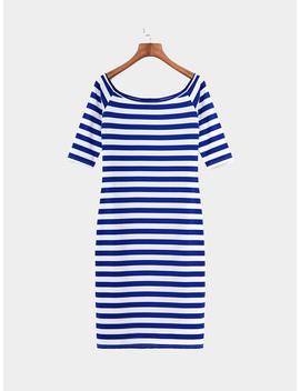 Bodycon Stripe Pattern Off Shoulder Midi Dress by Yoins