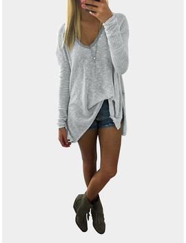 Grey V Neck Long Sleeve Loose T Shirt by Yoins