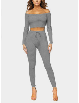 Grey Bodycon Off Shoulder Crop Top & Drawstring Waist Pants Two Piece Outfits by Yoins