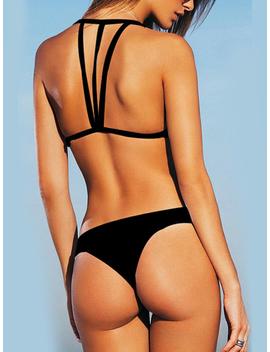 Halter Neck Strappy Bikini Set In Black by Yoins