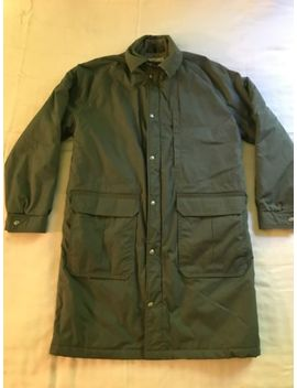 Ll Bean Mens Gray Wool Lined Insulated Trench Barn Coat Jacket Medium Nc7 by L.L. Bean