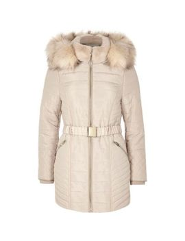Petite Cream Faux Fur Belted Padded Coat by River Island
